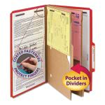 Smead Pressboard Folders, Two Pocket Dividers, 6-Section, Red, 10/Box (SMD19082)