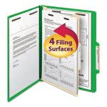 Classification Folder, 1 Divider, 4 Section, Green, 10 per Box (SMD13702)