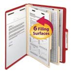 Smead Tab Classification Folders, 2 Dividers, 6 Section, Red, 10/Box (SMD14003)