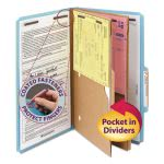 Smead Folders, 2 Pocket Dividers, 6-Section, Blue, 10/Box, Legal (SMD19081)