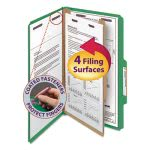 Smead Pressboard Classification Folders, 4 Section, Green, 10 per Box (SMD18733)