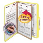 Smead Pressboard Folders, Legal, 4 Section, Yellow, 10 per Box (SMD18734)