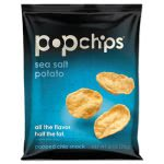 Popchips Potato Chips, Sea Salt Flavor, .8 oz Bag, 24/Carton (PPH71100)