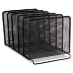 Rolodex Mesh Stacking Sorter, Five Sections, Metal, Black (ROL22141)