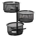 Rolodex 3 Tier Wire Mesh Swivel Tower Paper Clip Holder, Black (ROL62533)