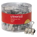 "Universal Small Binder Clips, 3/8"" Capacity, Silver, 40 Clips (UNV11240)"