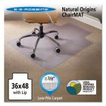 "Natural Origins Chair Mat With Lip For Carpet, 48"" x 36"", Clear (ESR141032)"