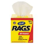 Scott 75260 Rags-In-A-Box Multi-Purpose Towels, White, 200 Rags (KCC75260)