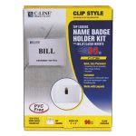 c-line-badge-holder-kits-top-load-3-x-4-white-clip-style-96-box-cli95596