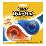 Bic Wite-Out Correction Tape, Non-Refillable, Blue/Orange, 2/Pack (BICWOTAPP21)