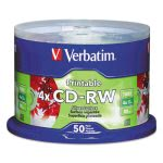 Verbatim CD-RW Discs, 700MB/80min, 4x, Spindle, Silver, 50/Pack (VER95159)