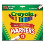 Crayola Non-Washable Markers, Broad Point, Classic Colors, 12/Set (CYO587712)