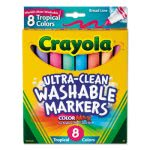 Crayola Washable Markers, Conical Point, Tropical Colors, 8 Markers (CYO587816)