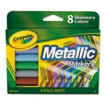 Crayola Metallic Markers, Assorted, 8 Colors, 1 Set (CYO588628)