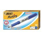 Bic Mark-It Permanent Markers, Fine Point, Deep Sea Blue, Dozen (BICGPM11BE)