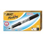 Bic Mark-It Permanent Markers, Fine Point, Tuxedo Black, Dozen (BICGPM11BK)