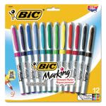 bic-mark-it-permanent-markers-ultra-fine-point-assorted-colors-dozen-bicgpmup12asst