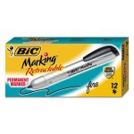 Bic Mark-it Retractable Permanent Marker, Black, Dozen (BICPMR11BK)