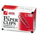 Acco Smooth Economy Paper Clip, Steel Wire, No. 3, Silver, 10 Boxes (ACC72320)