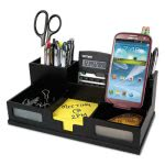 victor-midnight-black-desk-organizer-with-smartphone-holder-wood-vct95255