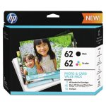 HP 62, Black and Tri-Color Original Ink with Photo Paper (HEWK3W67AN)