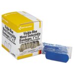 First Aid Only Blue Metal Detectable Bandages, Plastic w/Foil, 100/Box (FAOH175)