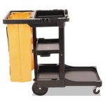 Rubbermaid 617388 Janitor Cleaning Cart With Vinyl Bag, Black (RCP617388BK)