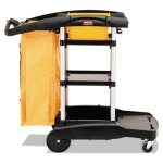Rubbermaid 9T72 High Capacity Janitor Cart w/Vinyl Bag, Black (RCP 9T72)