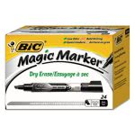 Bic Low Odor & Bold Writing Dry Erase Marker, Black, 24 Markers (BICGELITP241BK)