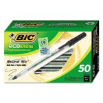 Bic Ecolutions Round Stic Pen, Black Ink, Medium, 50 Pens (BICGSME509BK)