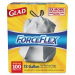 Glad 13 Gallon ForceFlex Drawstring Kitchen Trash Bags, 100 Bags (CLO 70427)