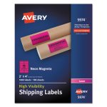 Avery Neon Shipping Label, Laser, 2 x 4, Neon Magenta, 1000/Box (AVE5974)