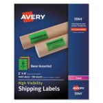 "Avery 5964 High Visibility Neon Shipping Labels, 2"" x 4"", 1,000 Labels (AVE5964)"