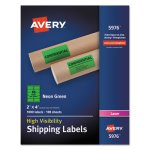 Avery Neon Shipping Label, Laser, 2 x 4, Neon Green, 1000/Box (AVE5976)
