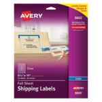 "Avery 8665 Clear Full Sheet Labels, 8-1/2"" x 11"", 25 Labels (AVE8665)"