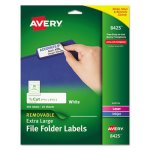 Avery Removable Extra-Large 1/3-Cut File Folder Labels, White, 450/Pk (AVE8425)