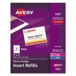 Avery Name Badge Insert Refills 3 x 4, White, 300 Inserts (AVE5392)
