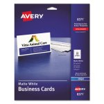 Avery Inkjet Matte Business Cards, 2 x 3 1/2, 10/Sheet, 250/Pack (AVE8371)
