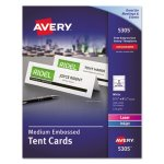 Avery Tent Cards, White, 2 1/2 x 8 1/2, 2 Cards/Sheet, 100 Cards/Box (AVE5305)