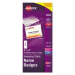Avery Hanging-Style Flexible Badge Holders, 3 x 4, White, 50 per Box (AVE74520)