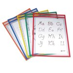C-Line Reusable Dry Erase Pockets, 9 x 12, 5 Assorted Colors/Pack (CLI40630)