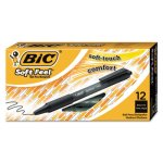 Bic Soft Feel Ballpoint Retractable Pen, Black Ink, Medium, Dozen (BICSCSM11BK)