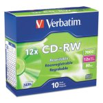 Verbatim CD-RW Discs w/Slim Jewel Cases, 700MB/80min, 10 Discs (VER95156)