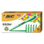 Bic Liner Highlighter, Chisel Tip, Fluorescent Green Ink, 1 Dozen (BICBL11GN)