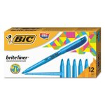 Bic Brite Liner Highlighter, Chisel Tip, Blue Ink, 1 Dozen (BICBL11BE)
