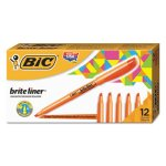 bic-brite-liner-highlighter-chisel-tip-orange-ink-1-dozen-bicbl11oe