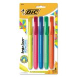 Bic Brite Liner Retractable Highlighter, Assorted, 5 per Set (BICBLRP51ASST)