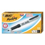 Bic Mark-It Permanent Markers, Ultra-Fine Point, Black, Dozen (BICGPMU11BK)