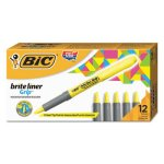 bic-highlighter-chisel-tip-fluorescent-yellow-12-highlighters-bicgbl11yw