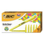 bic-liner-highlighter-chisel-tip-fluorescent-yellow-ink-1-dozen-bicbl11yw